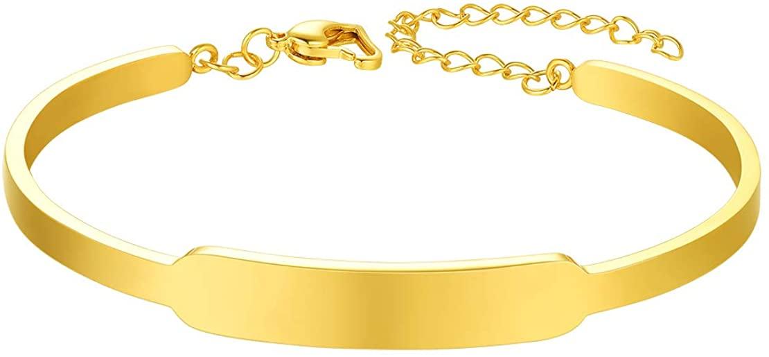 FindChic Custom Name ID Bracelets for Women Blank Bar Inspirational Bracelet 8.3'' Stainless Steel Minimalist Jewelry Friendship Coordinates Thin Wrist Link Bangle for Girls