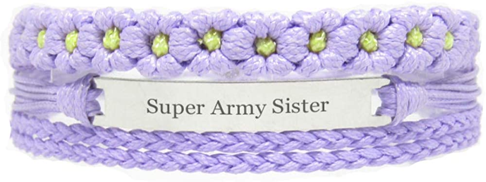Miiras Family Engraved Handmade Bracelet - Super Army Sister - Purple FL - Made of Braided Rope and Stainless Steel - Gift for Army Sister