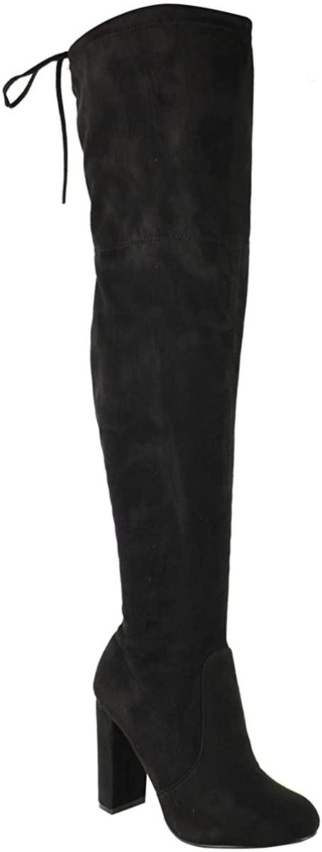 Fashion Thirsty Womens Thigh Boots Stretch Block