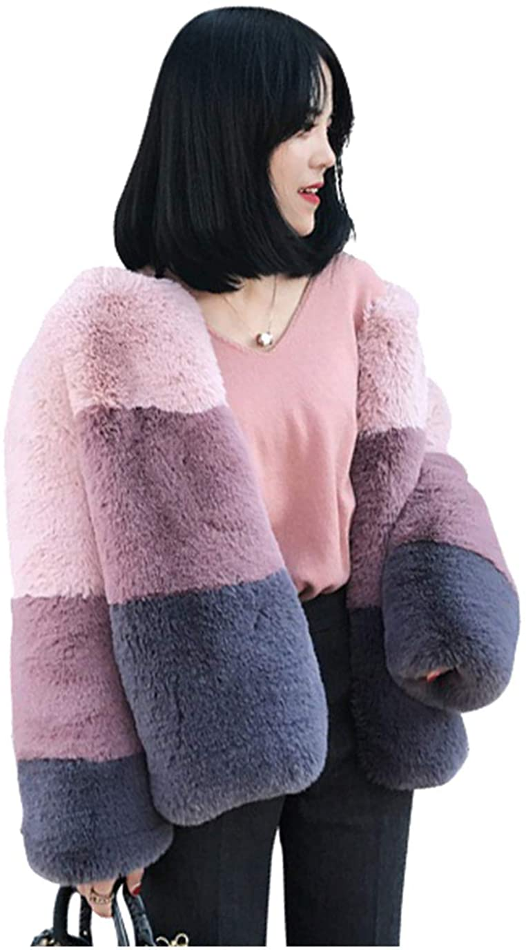 Dawwoti Womens Faux Fur Long Peacoat Thick Long Sleeve Open Front Chunky Overcoat for Winter New Year
