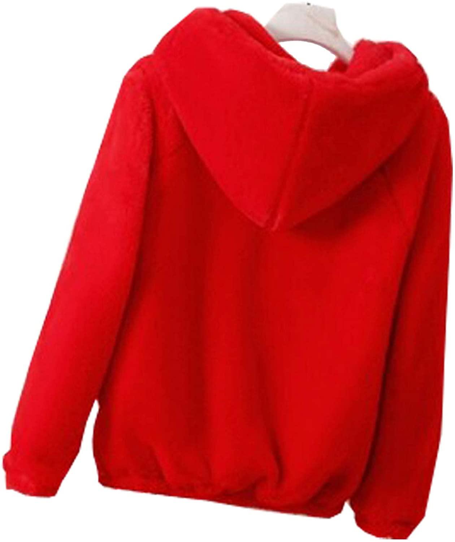 Flygo Women's Cute Faux Fur Wool Sherpa Coat Sweatshirt Outwear