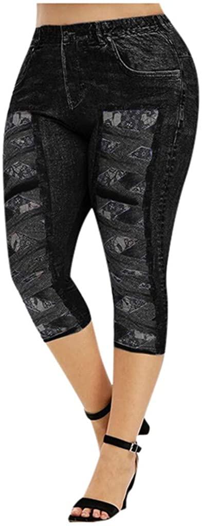 Fandream 3D Crisscross Lace Printed High Rise Skinny Butt Lifter Jeans for Women Denim