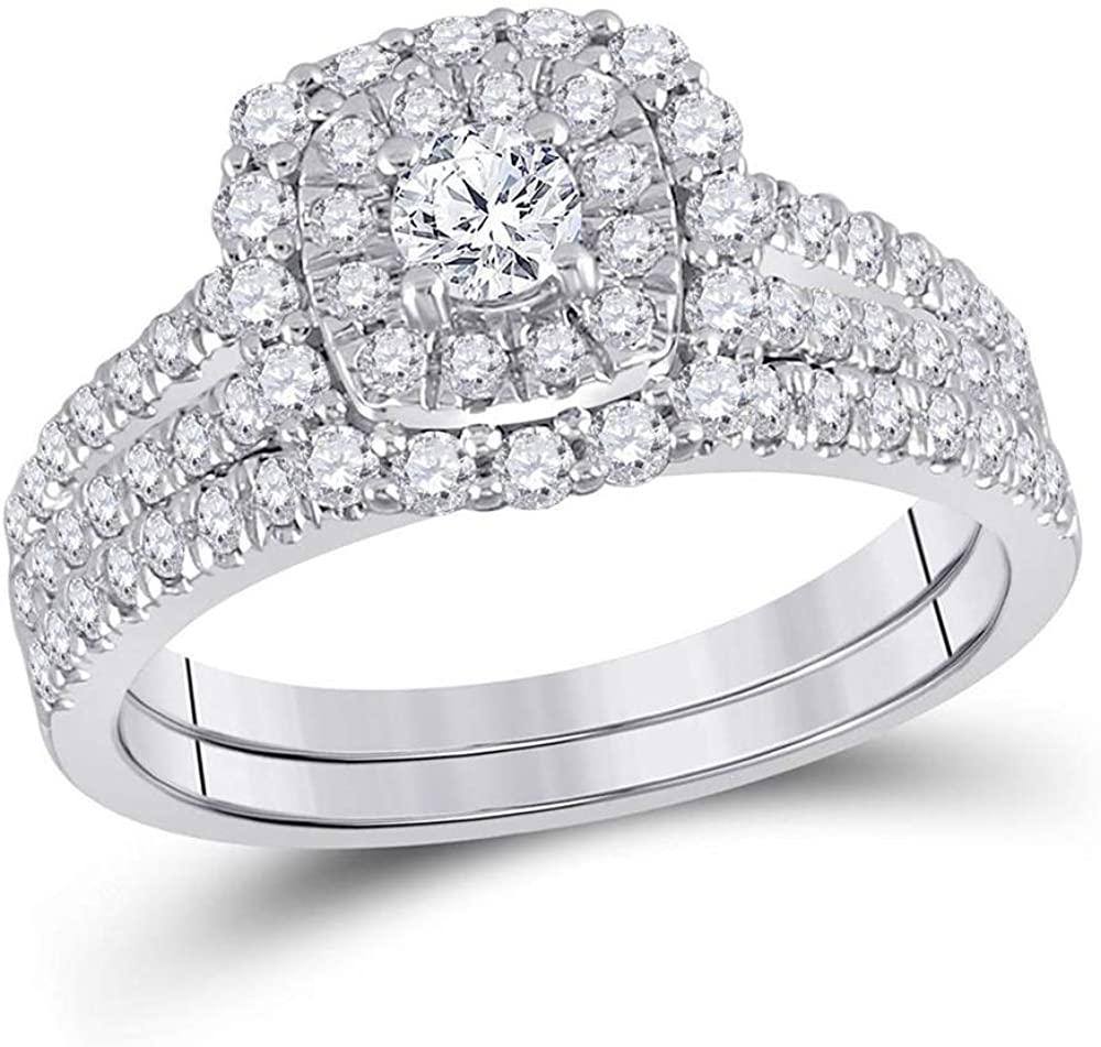 Dazzlingrock Collection 10kt White Gold Round Diamond Bridal Wedding Ring Band Set 1 Cttw