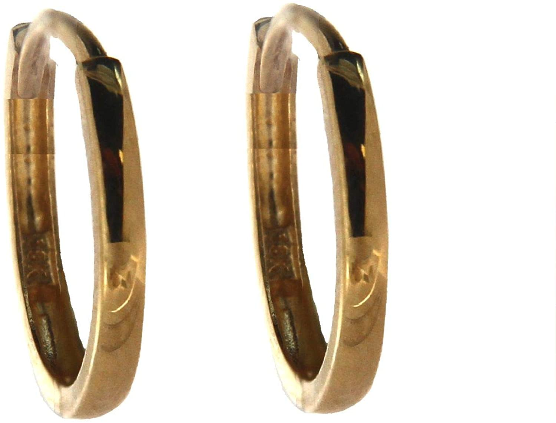 18K Solid Yellow Gold Thin Huggie Hoop Earrings 0.47 inch diameter tube 1.5 mm