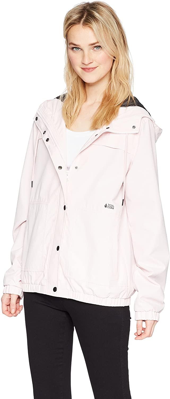 Volcom Womens Enemy Stone Hooded Zip Front Windbreaker Jacket