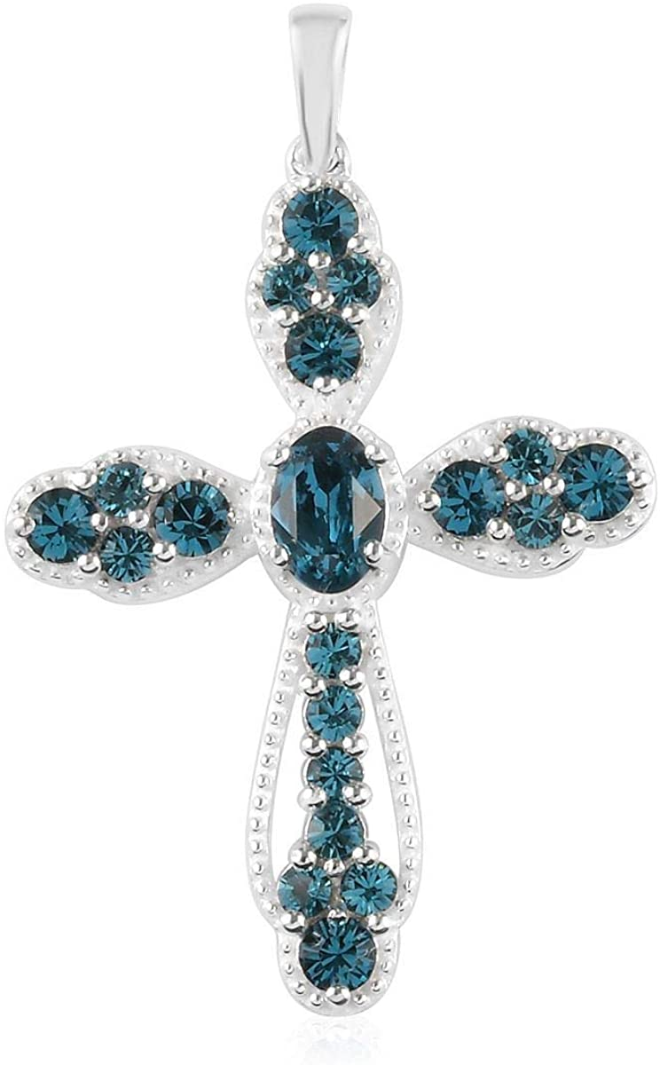 925 Sterling Silver Oval Made with Swarovski Indicolite Crystal Cross Pendant Women Fashion Jewelry Ct 0.9