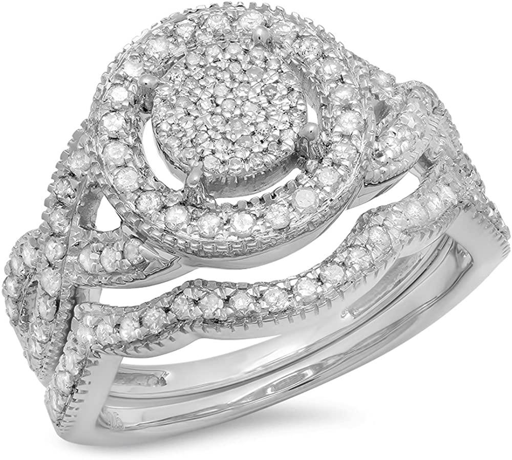 Dazzlingrock Collection 0.65 Carat (ctw) Round Diamond Ladies Micro Pave Swirl Split Shank Engagement Ring Set, Sterling Silver