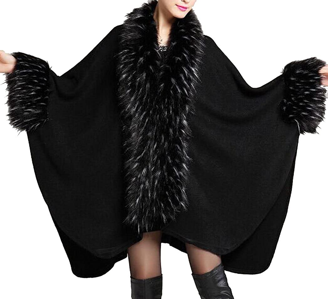 Helan Women's Luxury Style Faux Fur Shawl Cloak Cape Coat Black