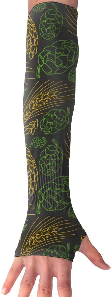 MASDUIH Malt and Cone Hop Gloves Anti-uv Sun Protection Long Fingerless Arm Cooling Sleeve