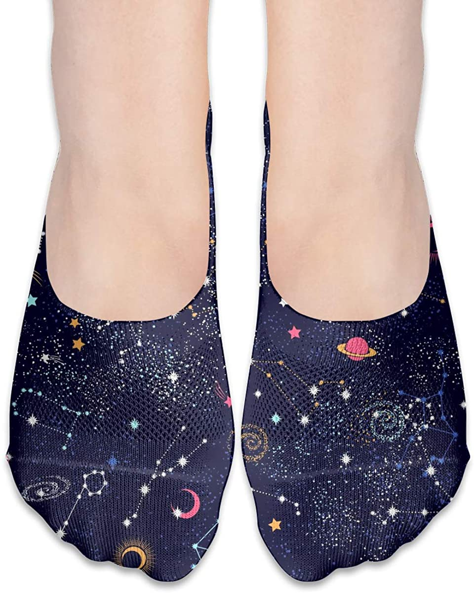 No Show Socks For Women Space Galaxy Constellation Low Cut Sock Liners Invisible Socks