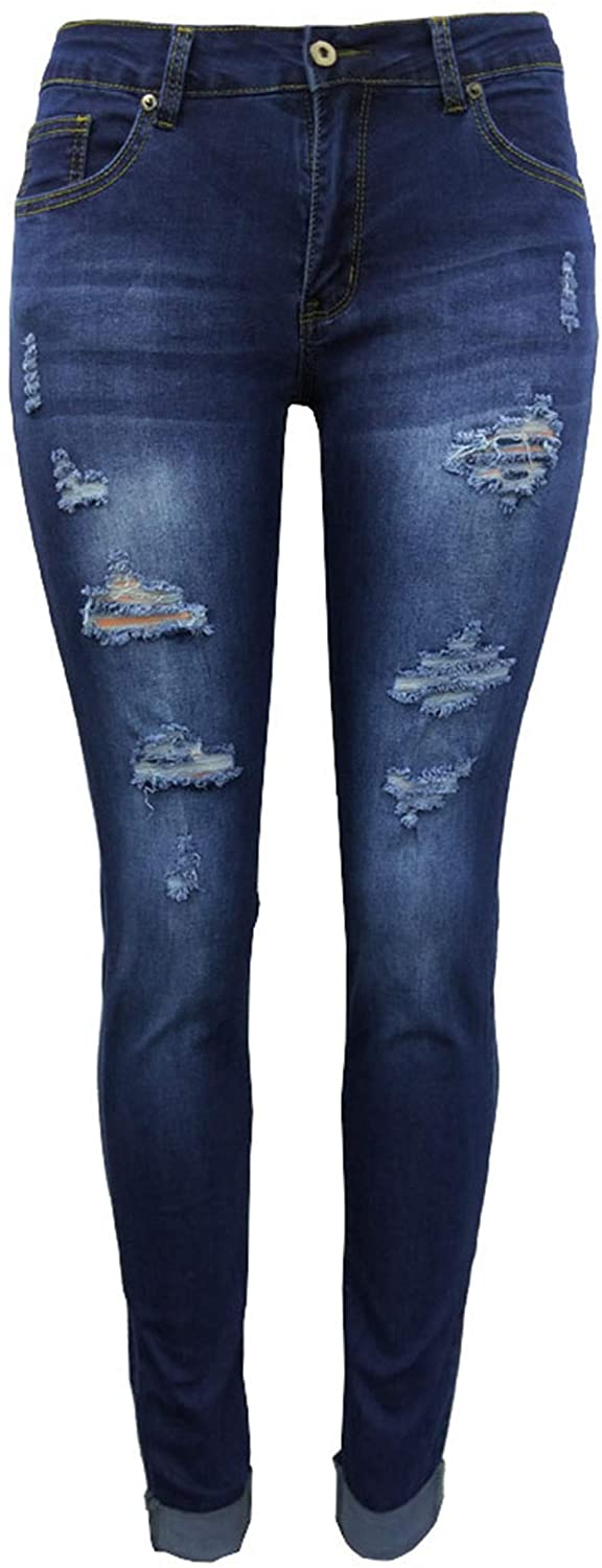 Women's Ripped Skinny Jeans Stretch Distressed Jeans Comfy Destroyed Jeans with Holes Pants Trousers Leggings