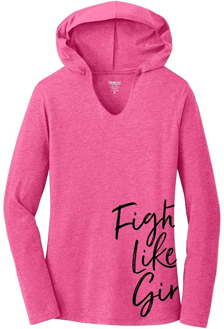 Fight Like a Girl Script Side-Wrap Ladies' Hooded Long-Sleeve T-Shirt Hoodie Tri-Blend
