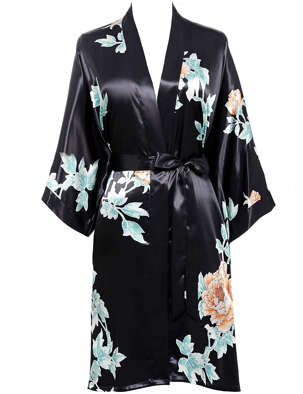 BABEYOND Short Kimono Robe Blouse Print Kimono Cover Up Loose Cardigan Top Outwear