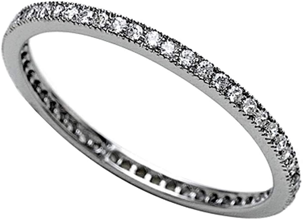 Zoe R Sterling Silver Micro Pave Hand Set Cubic Zirconia Stackable Eternity Band