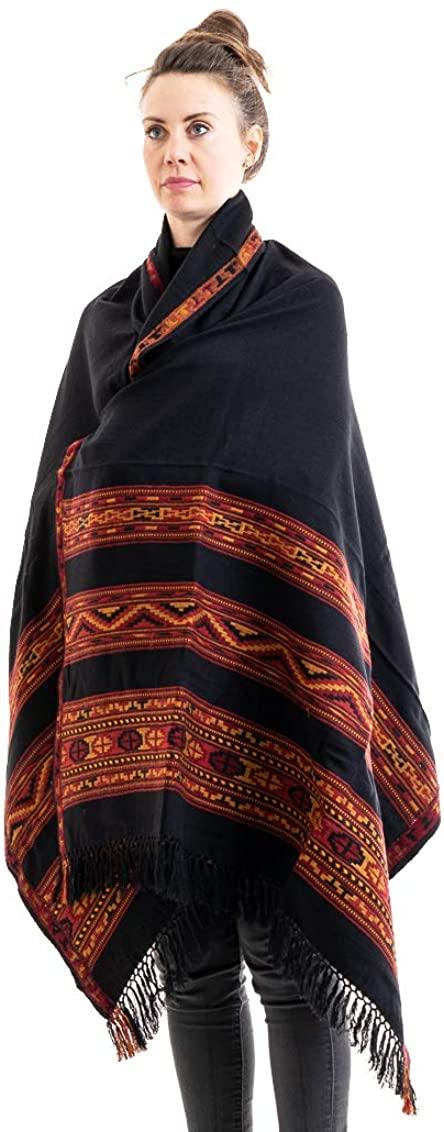 Meditation Shawl or Meditation Blanket, Wool Shawl or Wrap, Oversize Scarf or Stole, Wool Throw, Indian Blanket. Unisex