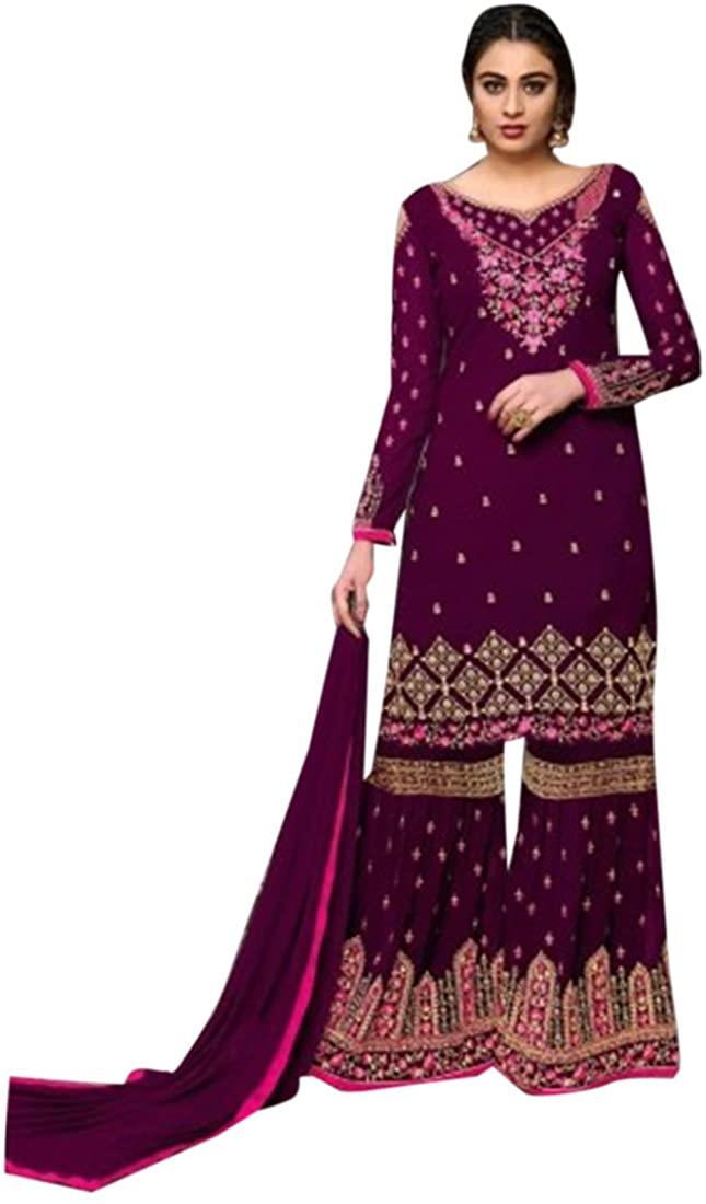 New Designer Garara Women Wedding Dress Sharara salwar kameez Floor Length Suit Custom to Measure 2786