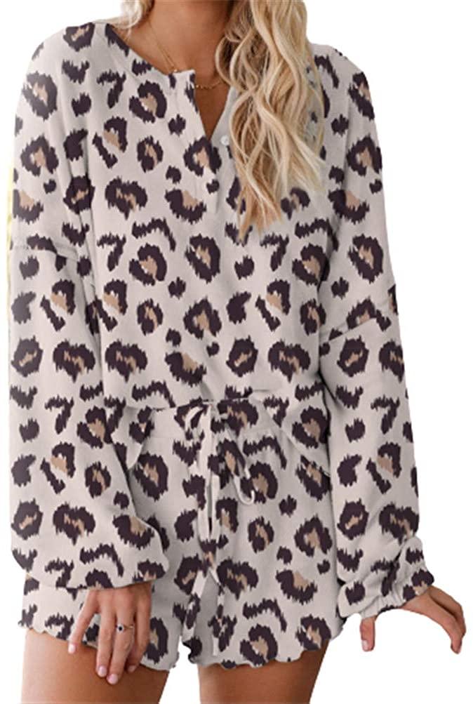 Women Pajamas Tie Dye Print Long Sleeve Tops and Ruffle Short PJ Set Loungewear Nightwear Sleepwear