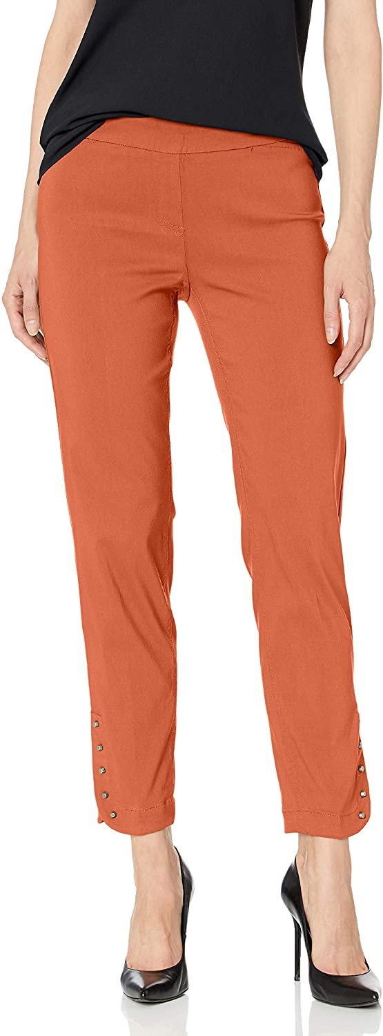 SLIM-SATION Women's Pull on Solid Ankle Pant with Faux Front Packets and Rivets
