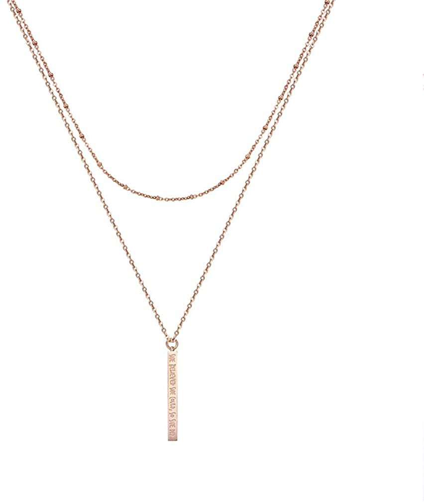 FOXJWEL She Believed She Could So She Did Vertical Bar Necklace Rose Gold Layered Inspirational Gift for Her