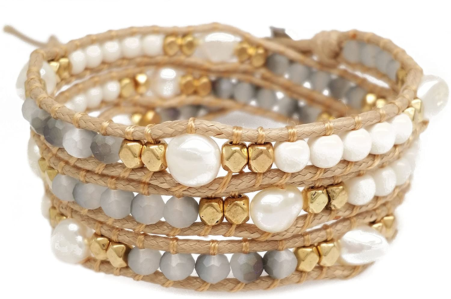 DazzleBlvd Women's Beaded Wrap Handmade Bracelet, Freshwater Pearls, Gold Metal Beads, and Grey Faceted Beads, 3 Wrap Bracelet