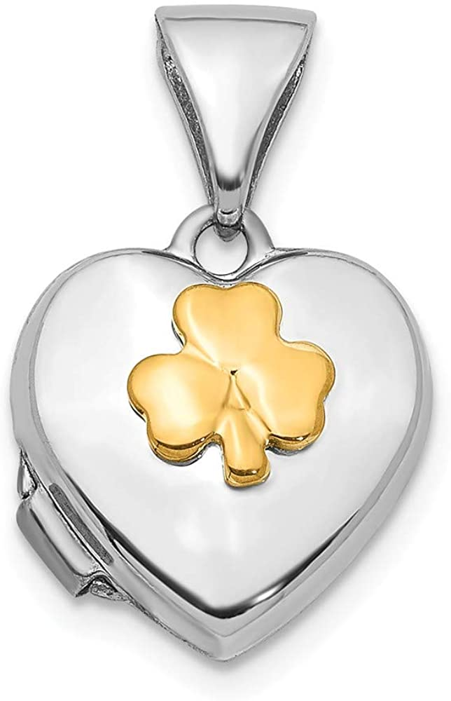 14K White Gold with Yellow Gold accent 10mm Clover Heart Locket Pendant Charm - 16mm x 10mm