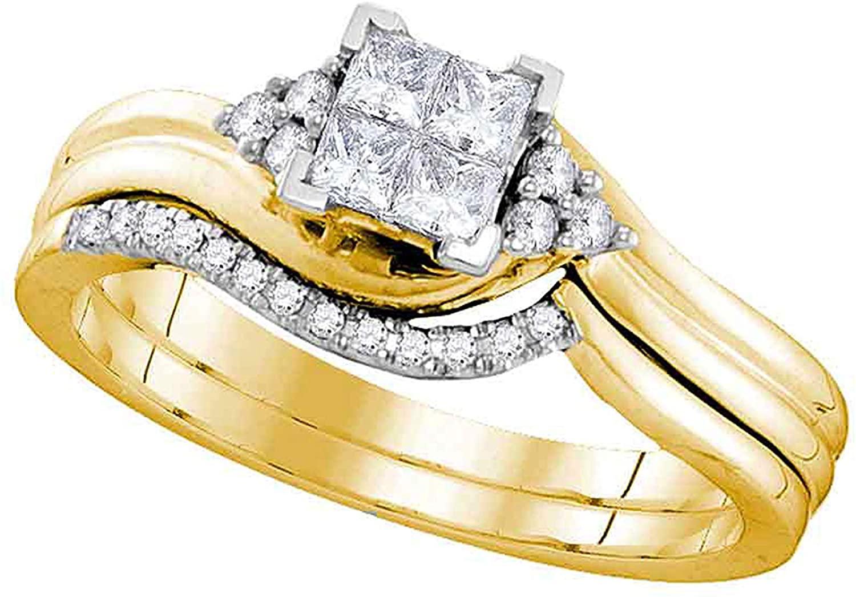 Dazzlingrock Collection 0.33 Carat (Ctw) Certified Princess Diamond Bridal Wedding Ring Set 1/3 Ctw, 10K Yellow Gold