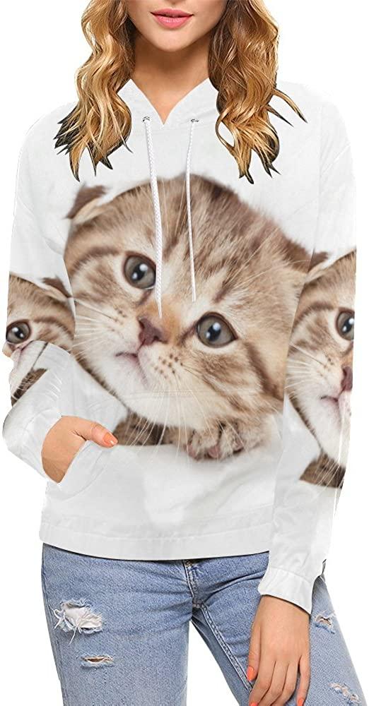 INTERESTPRINT Custom Cut Pet Baby Cat Womens Pullover Hoodies Sweatshirt S