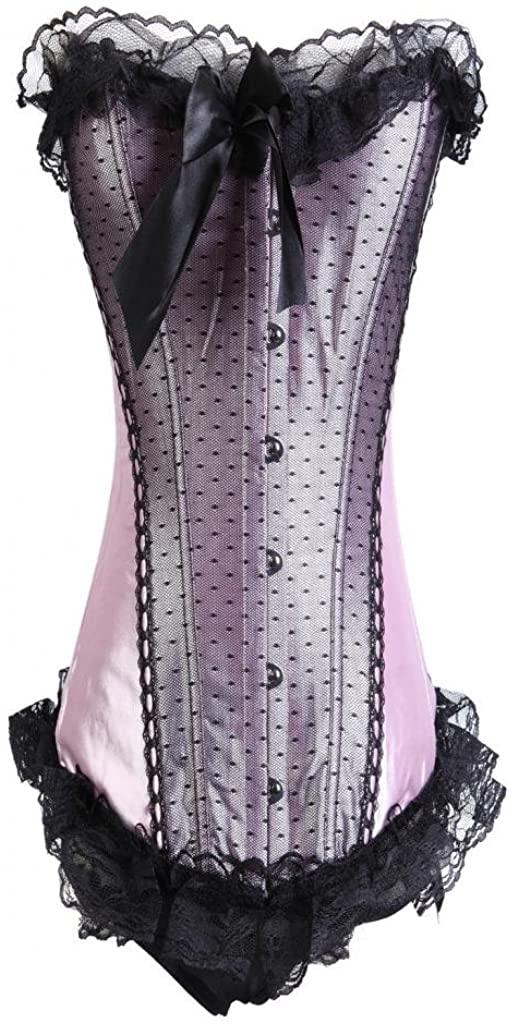Lotsyle Pink Black Lace Trim Satin Corset Lace Up Back Bustier