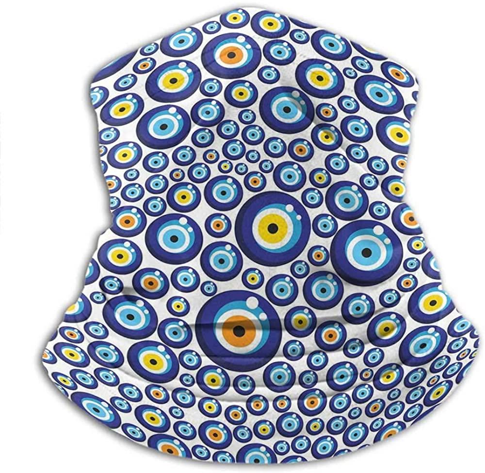 Neck Gaiters For Men Evil Eye Ski Tube Scarf Traditional Turkish Charm Luck Sign Pattern Vivid Bead Figures Graphic Blue Orange Yellow