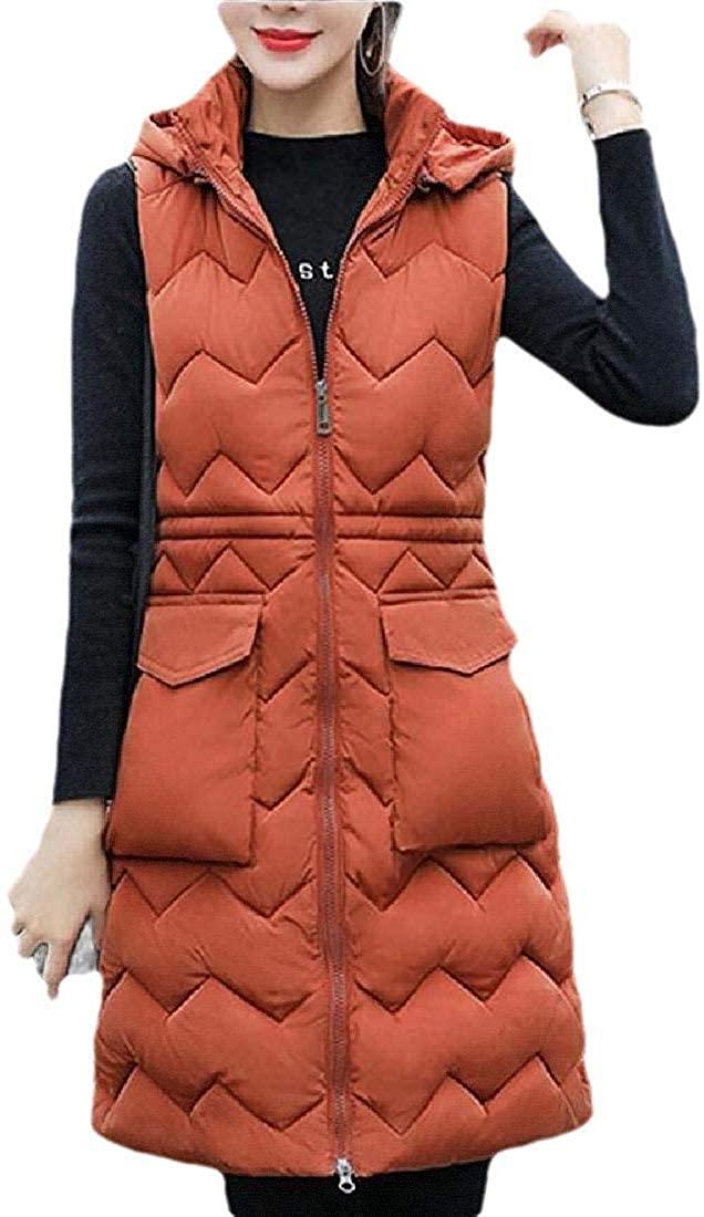 Womens Casual Hooded Coat Zipper Up Warm Sleeveless Down Vest Jacket
