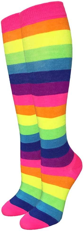 1 Pair Neon Rainbow Stripe Bright Knee High Socks Multi-Color Fashion Size 9-11