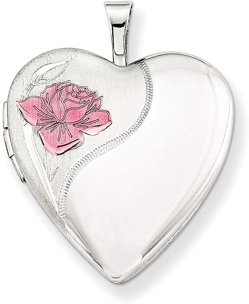 925 Sterling Silver Patterned Gift Boxed Spring Ring Not engraveable Polished and satin 20mm with Enameled Rose Love Heart Photo Locket Pendant Necklace Jewelry Gifts for Women
