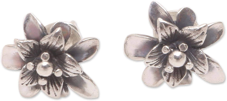 NOVICA .925 Sterling Silver Stud Earrings, Dreamy Lotus'