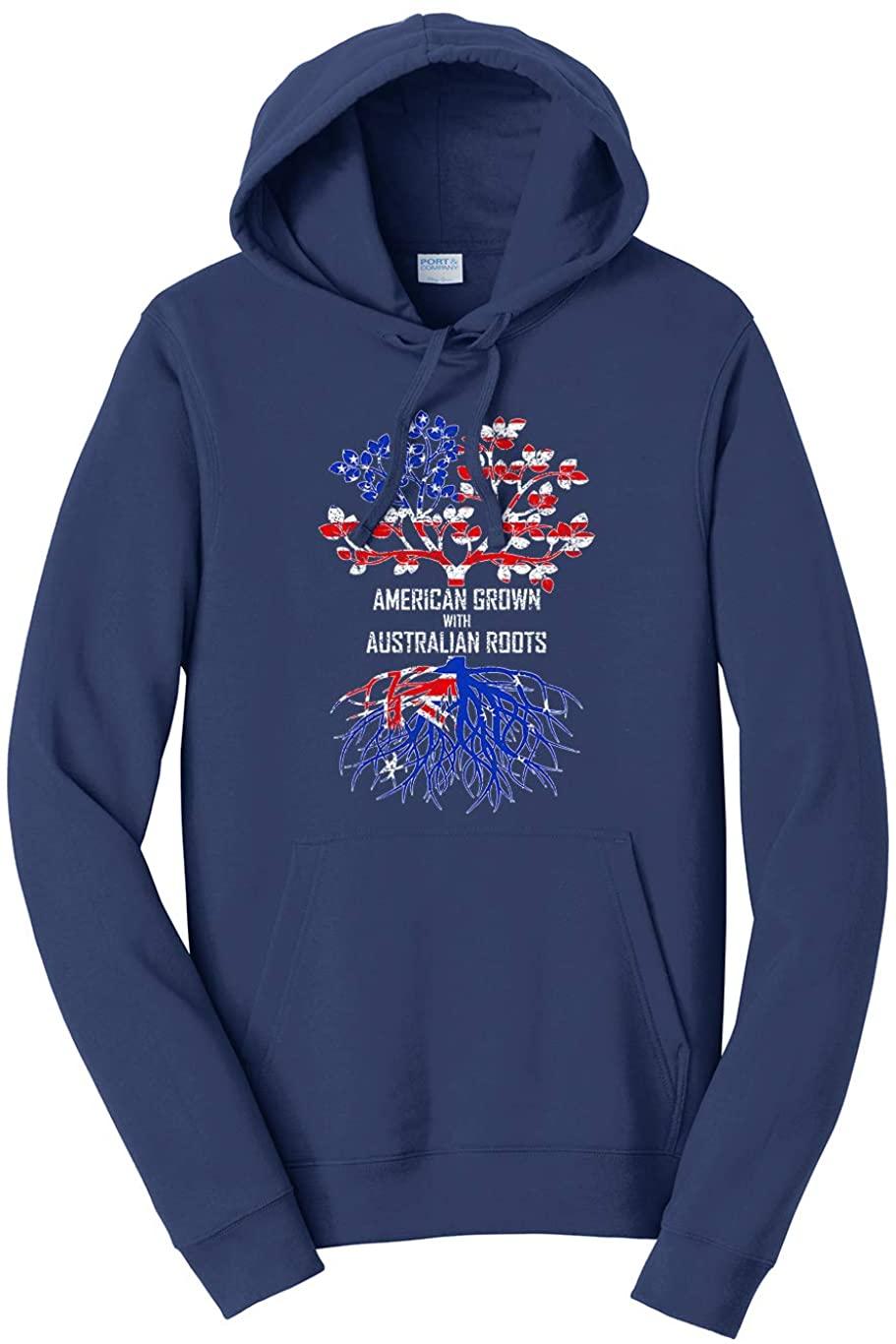 Tenacitee Unisex American Grown with Australian Roots Hooded Sweatshirt