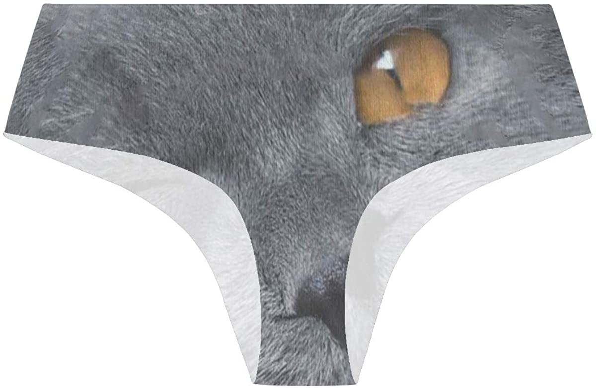 SLHFPX Funny Grey Cat Womens Stretch Seamless Underwear Laser Cut Bikini Panties