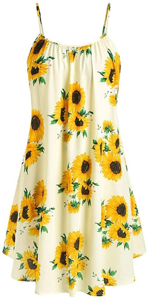 Bolayu Women's Summer Bohemian Floral Sunflower Spaghetti Strap Tank Dress Sexy Casual Loose Pleated Sundress Mini Dress