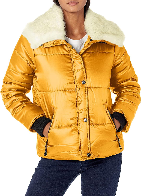 Urban Republic Womens Juniors Puffer Poly Polyfill Jacket, Mustard, 3X