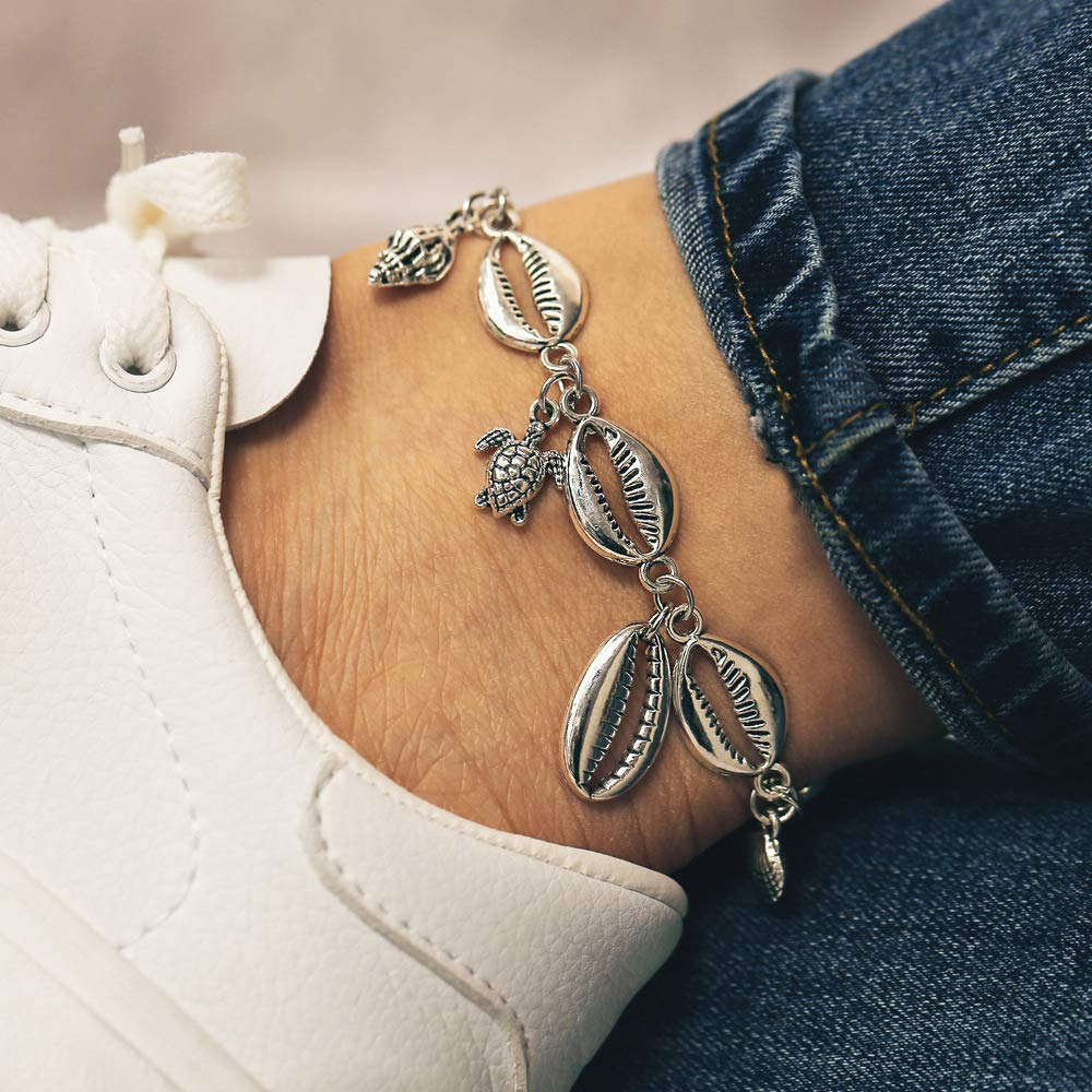 Obmyec Boho Turtle Ankle Bracelet Starfish Anklets Conch Foot Chain Seashell Jewelry for Women and Girls
