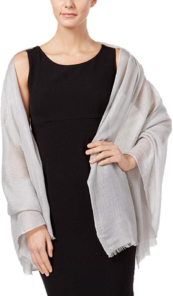 Inc International Concepts Metallic Shimmer Evening Wrap in Silver