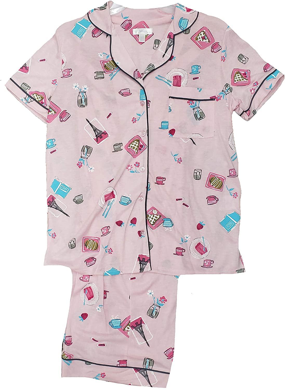 Paris Mix Pink Notch Collar Top & Capri Pajama Sleep Set