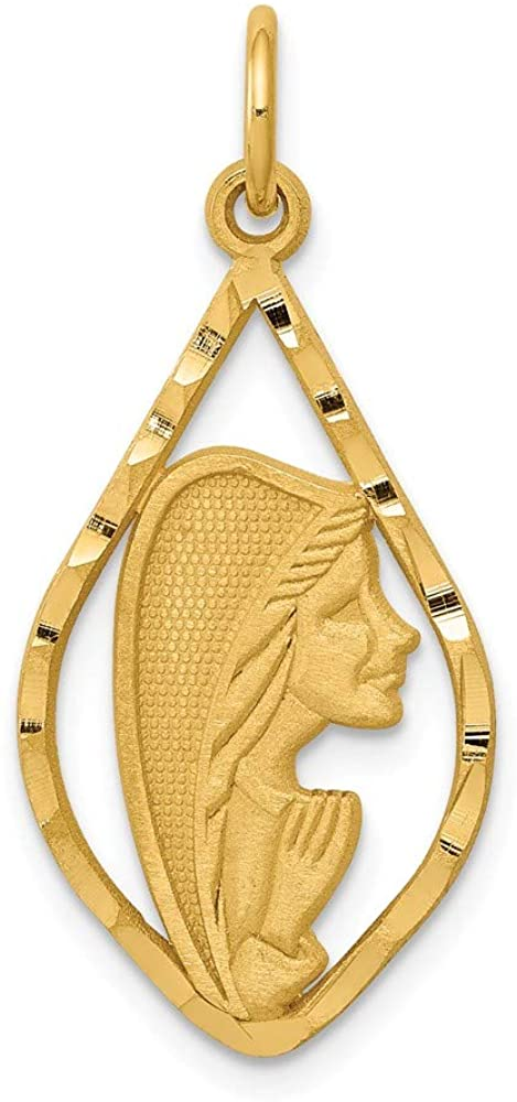 14k Yellow Gold Blessed Mary Charm