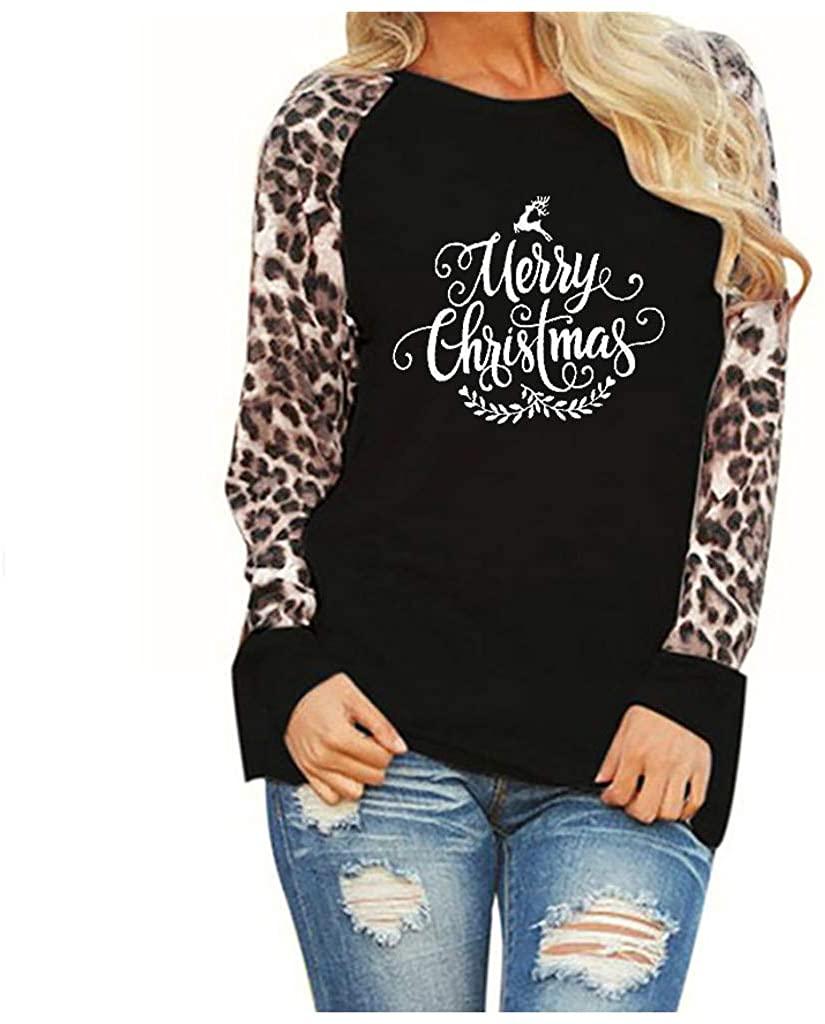BPOF99 Womens Shirts Crew Neck Long Sleeve Sweatshirt Merry Christmas Letter Leopard Print Blouses T-Shirt Tees