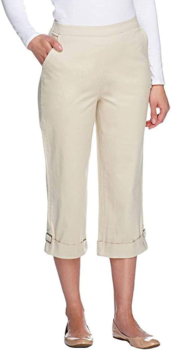 Denim & Co. Womens How Timeless Stretch Twill Cuffed Jean Capris L Khaki A89037