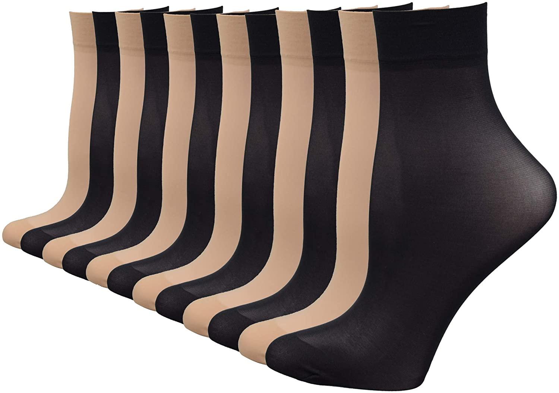 Fitu Women's 12 Pairs Nylon Ankle High Tights Hosiery Socks (6 Black 6 Beige)