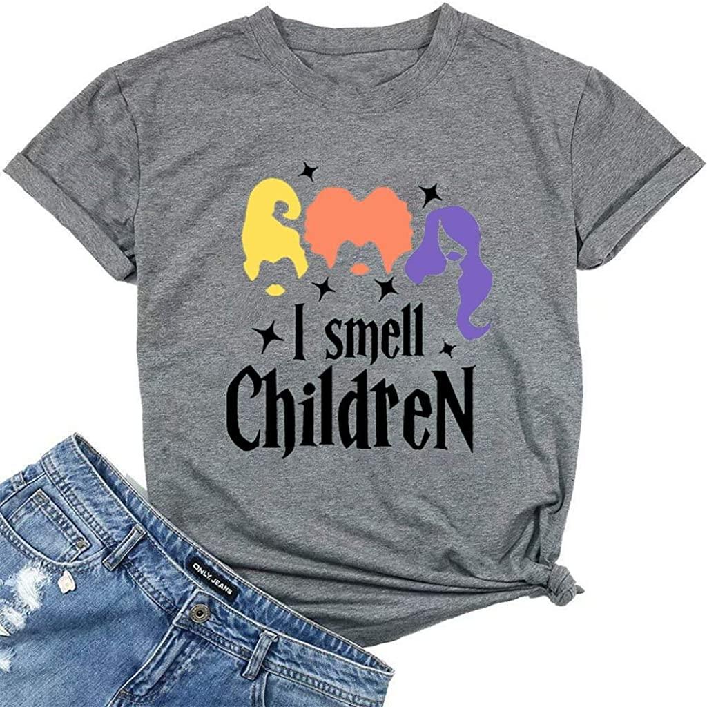 I Smell Children Halloween Women Cute T Shirt Sanderson Sisters Graphic Tees Letter Print Short Sleeve Fall Tops