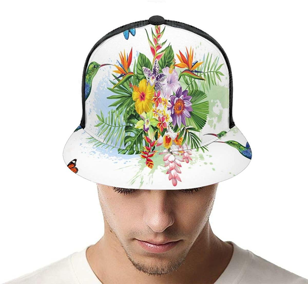 EJudge Mesh Back Trucker Hats Burgundy Color Butterflies Adjustable Baseball Cap Flat Brim Summer