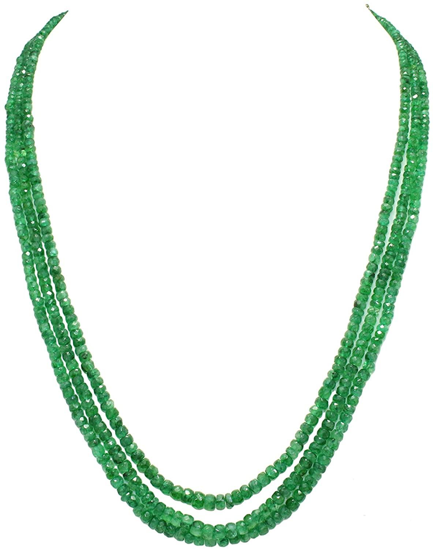 Rajasthan Gems Natural Beryl Gemstone Green Cut Beads 3 Lines String Necklace 195 Carats