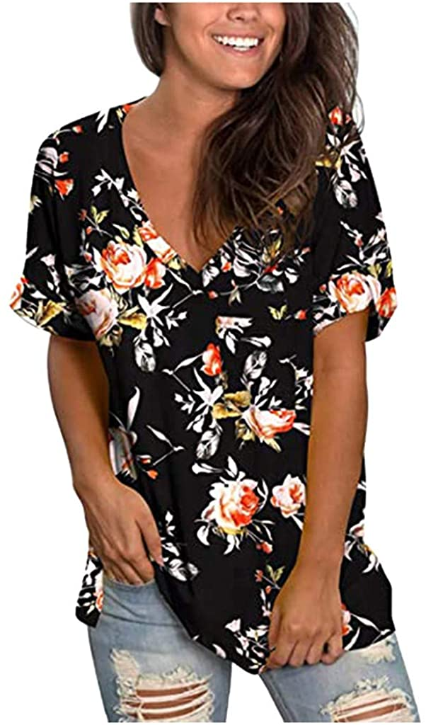 TOTAMALA Womens T-Shirt with Pocket Summer Fashion Casual Loose V-Neck Flowers Gradient Printed Top Blouse Tee Tunic