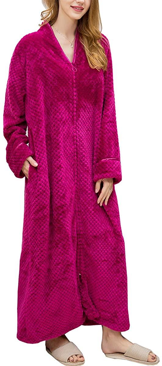 Share Maison Unisex Women's Men's Soft Warm Thick Flannel Bathrobe Home Hotel Spa Long Plush Faux Fur Robe Kimono