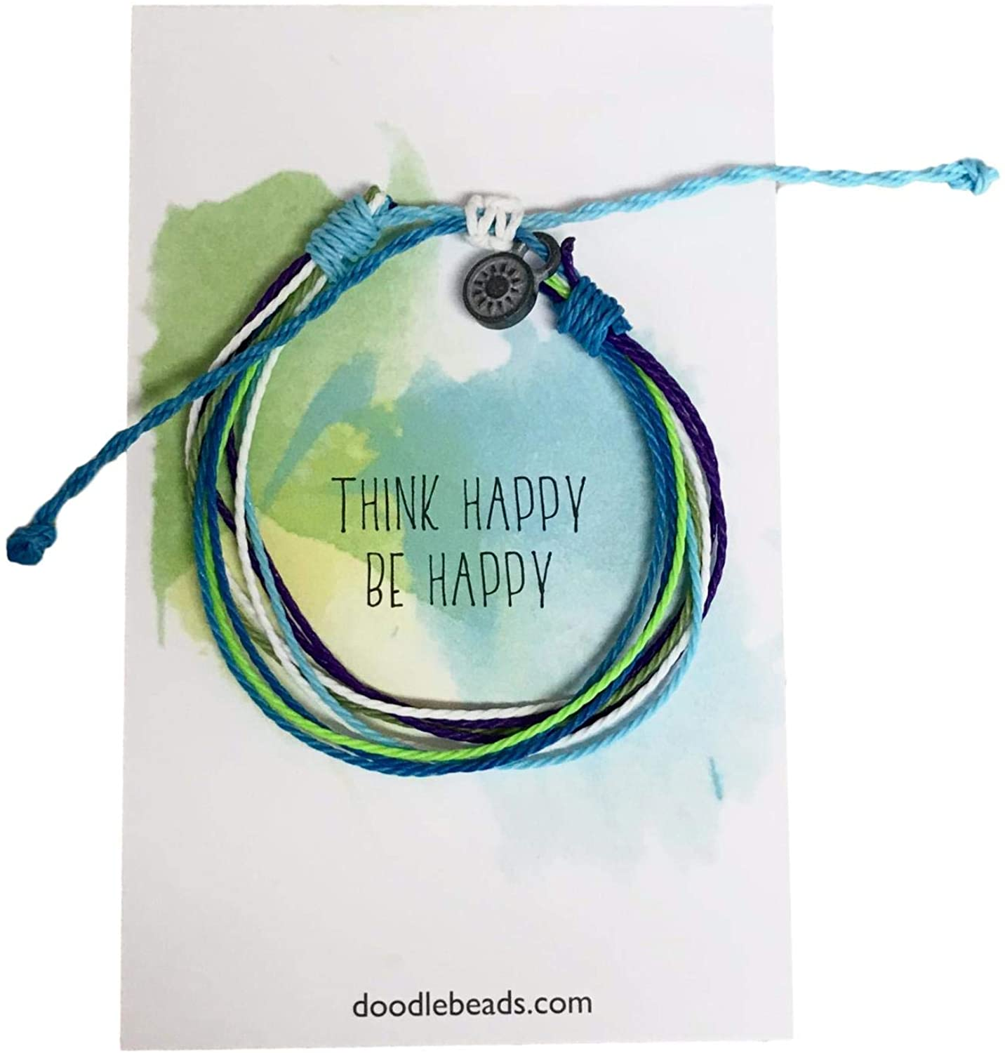 Doodle Beads Think Happy, Be Happy Friendship Threaded Bracelet Wax Coated and Waterproof